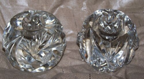 PAIR OF FINE EUROPEAN HAND CUT LEAD CRYSTAL CANDLE HOLDERS BRILLIANT