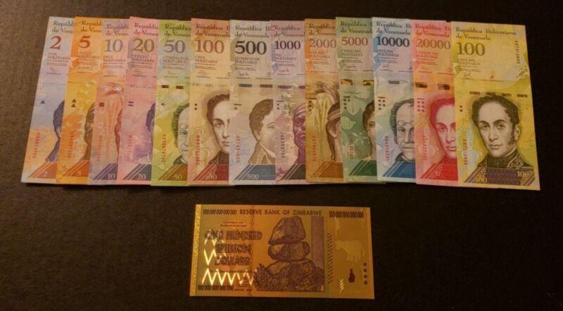 Venezuela Bolivares SetNEW UNC2-100,000 + Bonus 100 Trillion Zimbabwe Bill