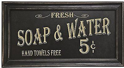 Vintage Bath Room Advertising Wall Art Distressed Sign Decor Soap and Water
