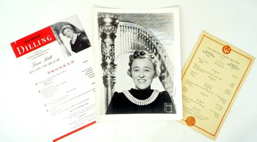 1943 SIGNED PHOTOGRAPH AND PROGRAMS MILDRED DILLING HARPIST HARP MUSIC
