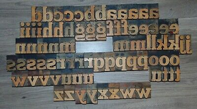 79 2 Wood Letterpress Printing Blocks Type Lower Case Alphabet