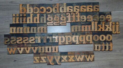 "79 2"" Wood Letterpress Printing Blocks Type Lower Case Alphabet"