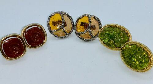 Lot of 3 Pair Vintage Mens Cufflinks - Yellow Glass - Red Intaglio - Olivine