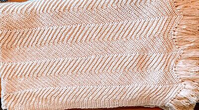 "Handmade Crochet Knit Afghan Couch Sofa Blanket 128""x76"" Throw Bedspread Nice"