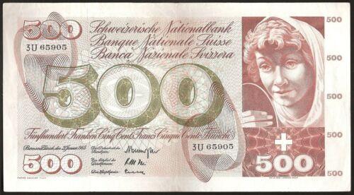 SWITZERLAND 500 FRANKEN 1965 P:51d VF