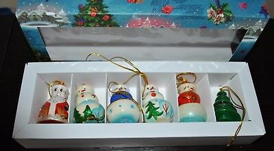 NEW RUSSIAN Wood Christmas Ornament SET/6 TREE SANTA SNOWMAN Hand crafted Russia