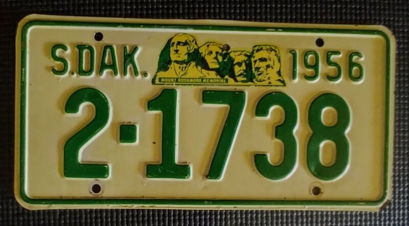 Vintage 1956 South Dakota License Plate 2-1738 Very Nice Car Hot Rod Rat Rod Tag