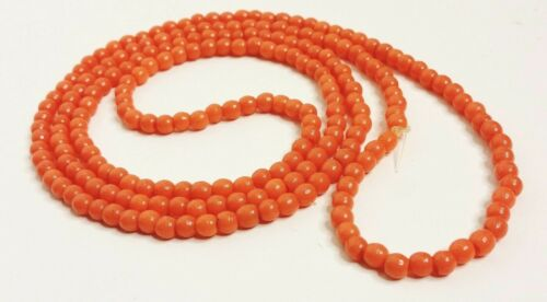 """VINTAGE 20s 5mm PROSSER BEADS PEACH CORAL Czech Bohemian Pressed Glass 43"""""""