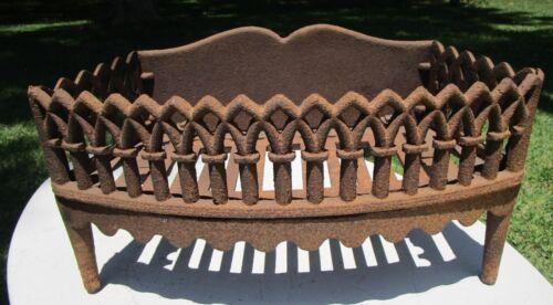 ANTIQUE GOTHIC DECORATIVE CAST IRON FIREPLACE BOX GRATE COAL WOOD INSERT