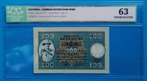 Yugoslavia, Slovenia; 100 lir 1944, Laibach / Ljubljana city money, ICG UNC 63