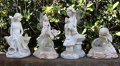 (Garden Decor Solar Fairy/Angel Statue Sculpture Light Animal Crackle Ball-SOLAR)