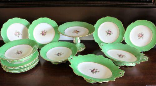 Antique John Rose Coalport Dessert set Green Rims Plates cake Compote Bowl 6/368