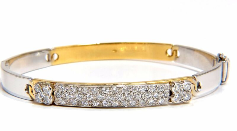 Designer Bangle Bracelet 18kt 1.50ct. Natural Diamonds Two Toned Mod+