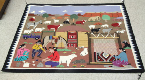 "Navajo Reservation Life Pictorial Rug by Renowned Artist Florence Riggs 46""x36"""