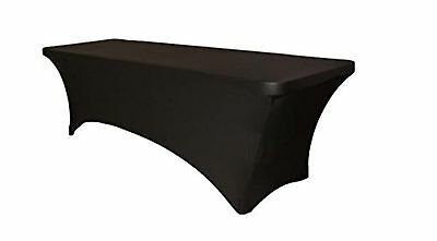 6 ft Black DJ Table Cover Stretch Scrim Spandex Type Table