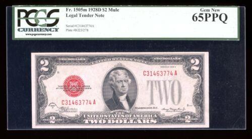 DBR 1928-D $2 Legal MULE Gem Fr. 1505m CA Block PCGS 65 PPQ Serial C31463774A