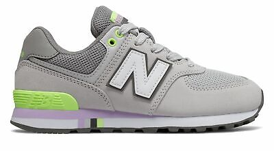 New Balance Kid's 574 Big Kids Female Shoes Grey with Green