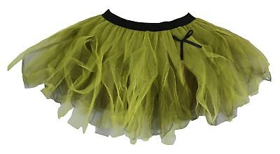 Ladies Olive Green & Yellow Funky Cyber Tutu Skirt Wood Elf Fancy - Funky Elfen Kostüm