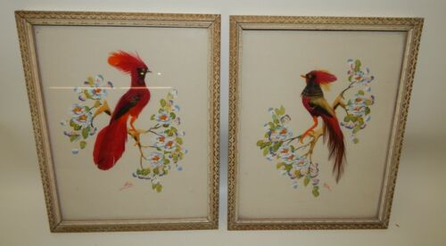 Pair of Vintage Mexican Bird Feather Framed Artwork by Glenn Bastian