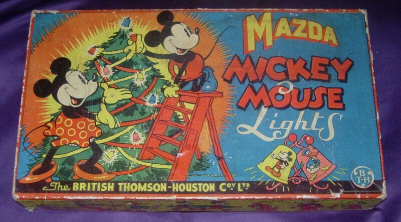 MAZDA  MICKEY MOUSE CHRISTMAS LIGHTS  LARGE 12-LIGHT BOX ONLY  DISNEY 1930