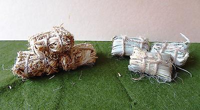 Heu Ballen Dekorationen (3x Heuballen Stroh Krippe Stall Bauernhof Puppenstube Miniatur 1:12 Basteln )