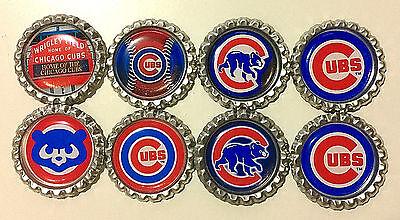 'SET OF 8' CHICAGO CUBS Flat Bottlecaps for hairhows, (Baseball Mlb Bottle Caps)
