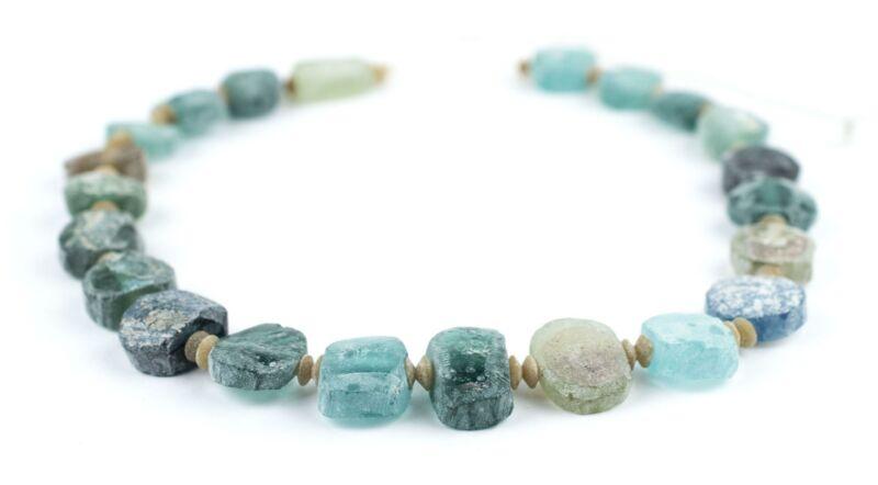 Circular Ancient Roman Glass Beads 11-18mm Afghanistan Blue Tabular Large Hole