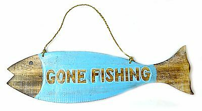 GONE FISHING SIGN BLUE RUSTIC WOOD DECOR CABIN LODGE HOME COUNTRY PRIMITIVE ART (Fishing Decor)