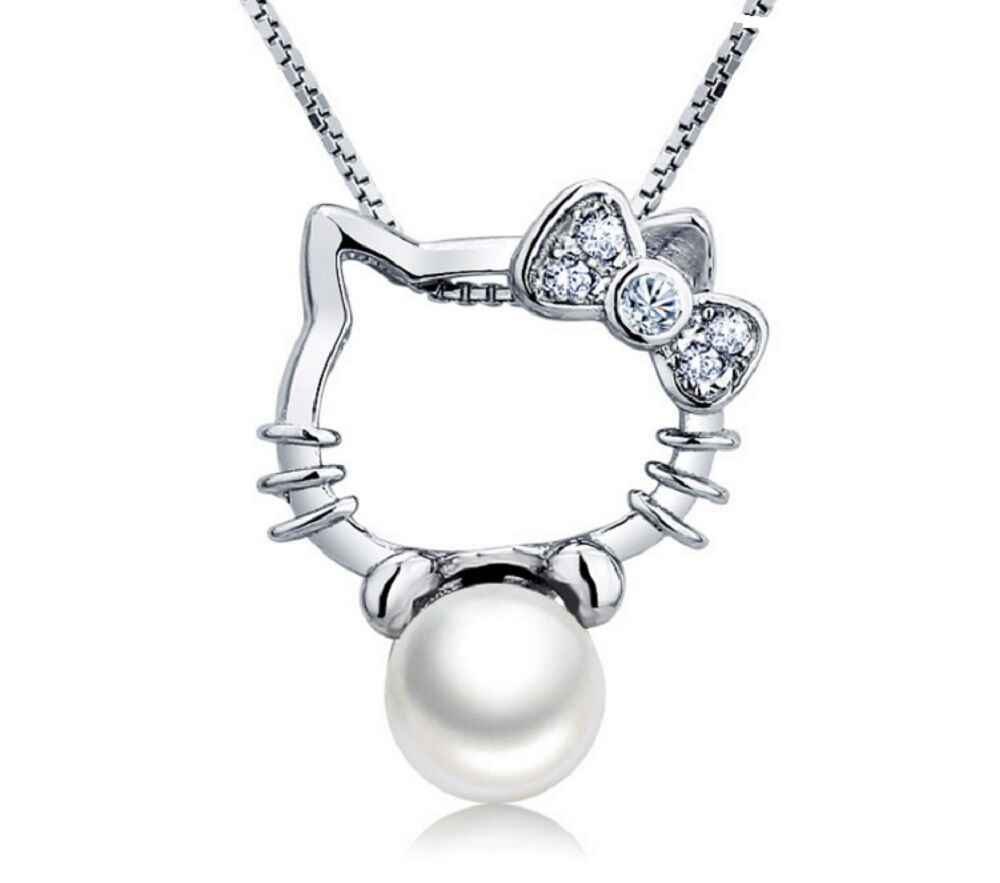 Hello Kitty Necklace+Freshwater Pearl 925 Sterling Silver Pendant Chain Necklace Fashion Jewelry