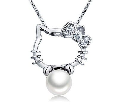 Hello Kitty Freshwater Pearl 925 Sterling Silver Pendant with 18 Inches Necklace Fine Jewelry