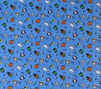 Halloween Fabric Mini Halloween Motifs on Blue 1 yd Witch Vampire Ghost & Others](Halloween Motifs)