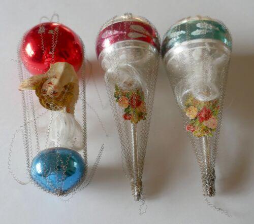 4 Antique Vintage Mercury Glass Christmas Ornaments Wire Wrapped Victorian Scrap