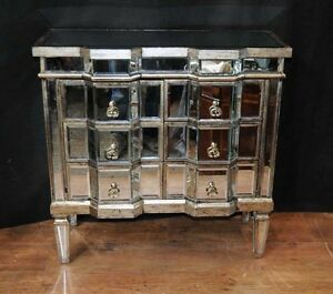 Art Deco Mirror Chest Drawers Mirrored Furniture Chests Cabinet
