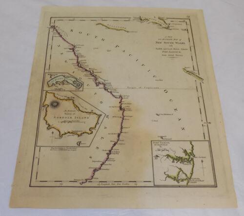 1794 Antique COLOR Map/NEW SOUTH WALES COASTAL SURVEY, AUSTRALIA