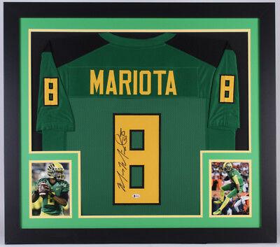 Custom Oregon Football Jersey - Marcus Mariota Signed Oregon Ducks 31x35 Custom Framed Jersey (Beckett COA)