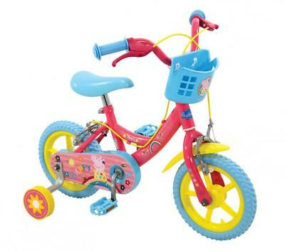"Peppa Pig Girls Kids Character Bike Bicycle w/ Stabilisers Basket 12"" Pink 3+"