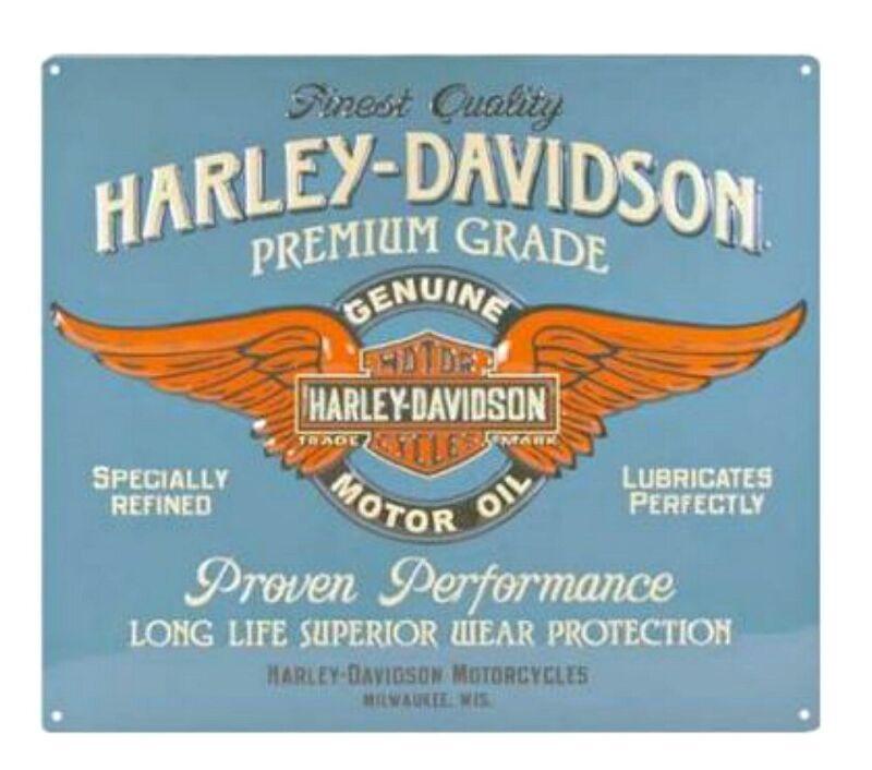 Harley-Davidson Genuine Motor OIl Winged Bar & Shield Embossed Tin Sign 2010821