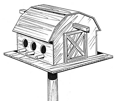 Bird Barn #908 - Woodworking / Craft Pattern. Same Size Outline Drawings.