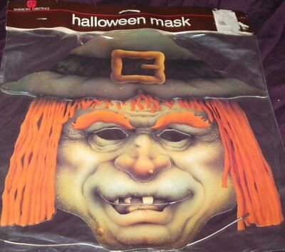 Vtg American Greetings Halloween Witch Hat Mask Cardboard Die Cut Sealed Costume