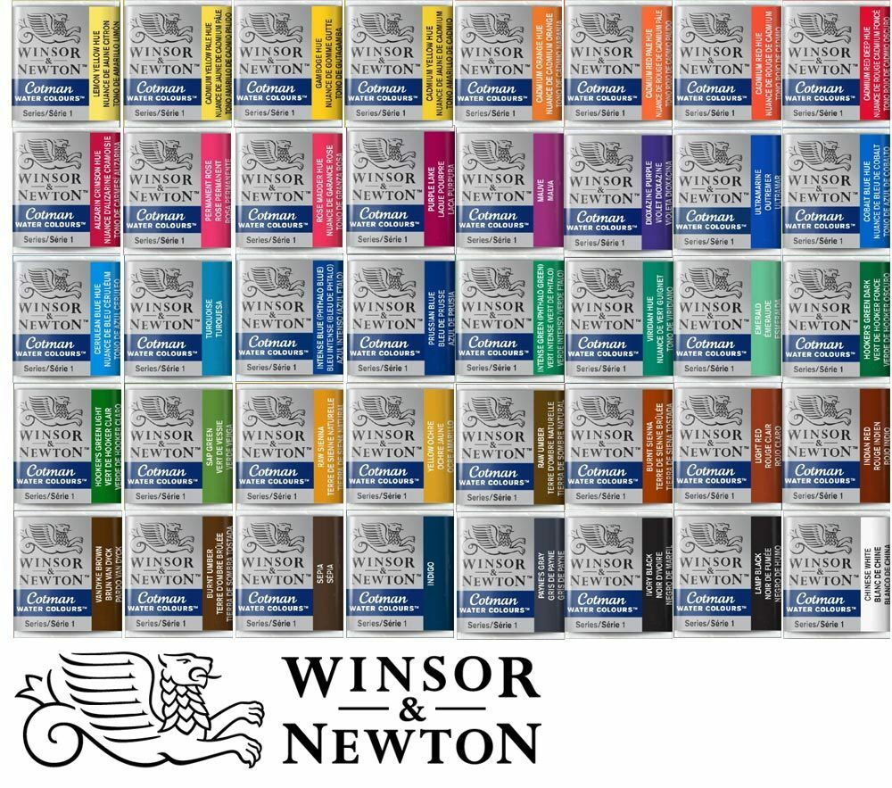 40 Farbtöne Aquarellfarbe WINSOR & NEWTON - Cotman halbe Näpfe - freie Farbwahl