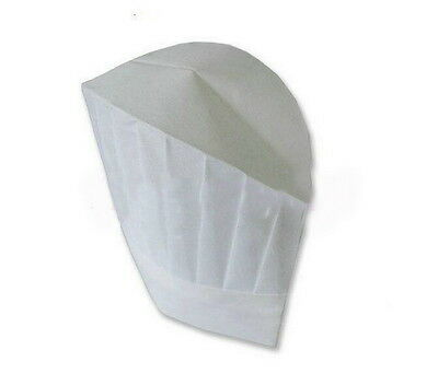 50 Pcs Disposable White Paper Tall Chef Hat Kitchen Cook Caps Restaurant Hat New