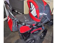 Junior Twist pram pushchair Travel System 3in1 GRAPHITE + RED