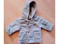 Unisex Khaki Fleece Zipped Duffle Coat with Removable Hood [Age 3-6 Months].