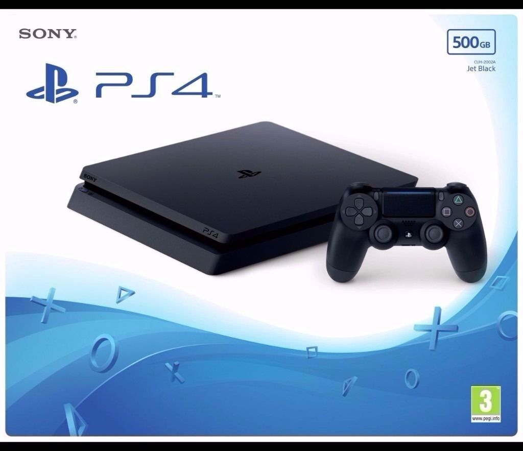 PS4 Slim 500GB (Jet Black) - New and sealed (receipt available)