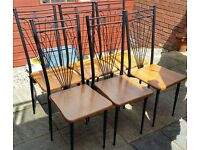 6 dining chairs. wooden seat on metal frame. in used condition but structurally still good.