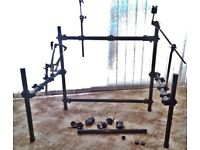 Jobeky Drum Rack, Cymbal & Snare Holders + 3 E-cymbals