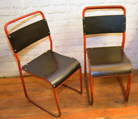 30 available Red black stacking vintage chairs dining kitchen industrial restaurant retro seating