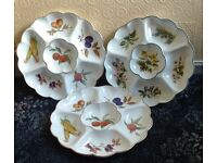 """Two Royal Worcester """"Evesham""""and One """"Herbs"""" Crudite Dishes"""