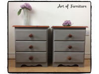 A Pair of Pine Rustic Farmhouse Bedside Tables Hand Painted in ANNIE SLOAN French Linen Chalk Paint