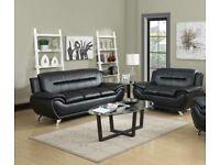 Venice Faux leather 3+2 Sofa set- Black